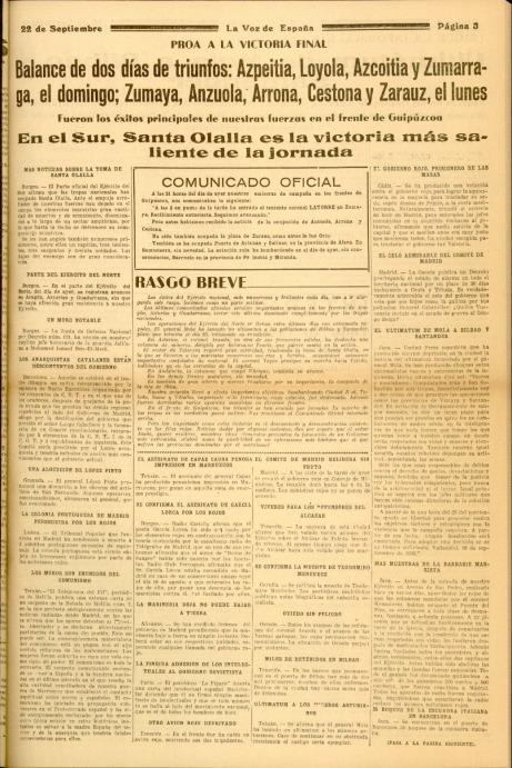 1936ko irailaren 22ko DIARIO VASCO egunkarian, Zarautz frankisten esku zegoela iragarriz.